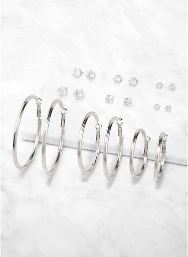 Variegated Stud and Hoop Earrings Set,SILVER,large