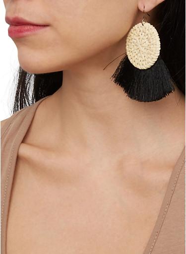 Straw Fringe Disc Earrings,BLACK,large