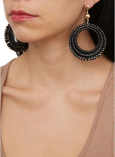 Woven Circle Earrings,BLACK,large