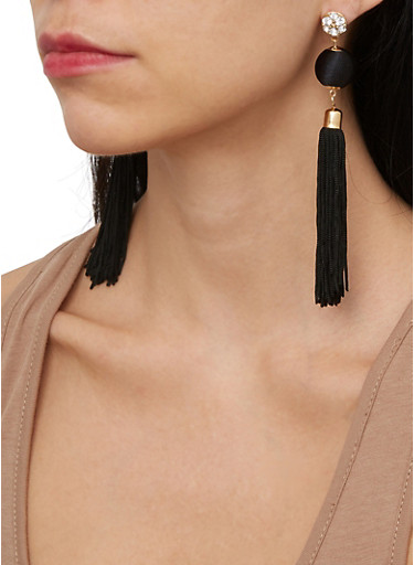 Rhinestone Tassel Ball Earrings,BLACK,large