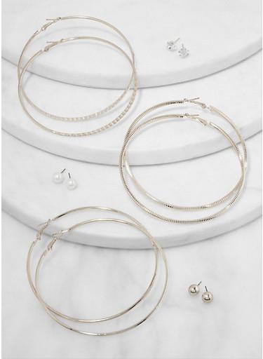 Set of 6 Assorted Stud and Metallic Hoop Earrings,SILVER,large