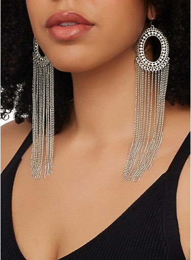 Circular Metallic Fringe Drop Earrings,SILVER,large
