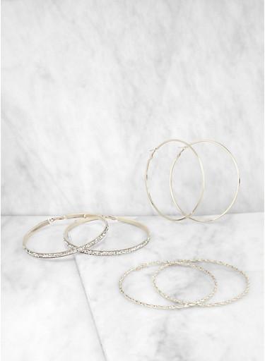 Oversized Metallic Hoop Earrings Set,SILVER,large