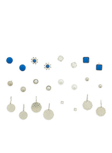 Set of 12 Assorted Earrings,SILVER,large