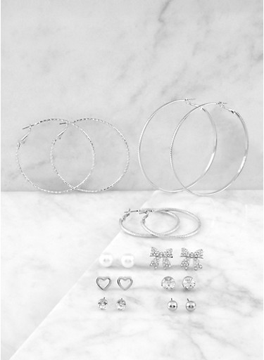 Set of 9 Assorted Hoop and Stud Earrings | 1135074371007,SILVER,large