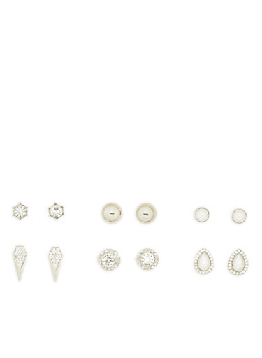 Set of 6 Rhinestone and Faux Pearl Stud Earrings,SILVER,large