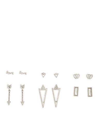 Set of 6 Metallic Rhinestone Stud Earrings,SILVER,large