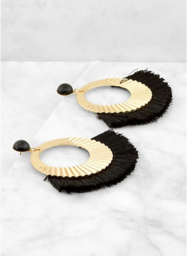 Hammered Metallic Fringe Earrings,BLACK,large