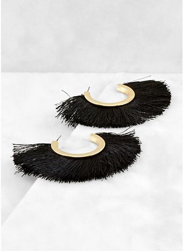 Open Hoop Fringe Earrings,BLACK,large