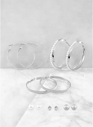 Faux Pearl Stud and Hoop Earrings Set,SILVER,large