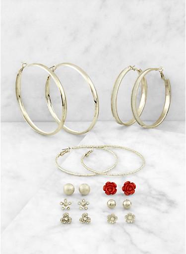 Set of 9 Flower Stud and Hoop Earrings,SILVER,large