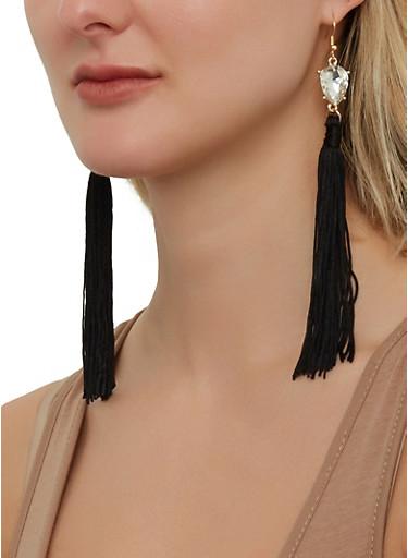 Rhinestone Tassel Drop Earrings   1135074752204,BLACK,large