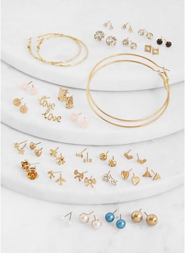 Set of 30 Assorted Love Stud and Hoop Earrings,MULTI COLOR,large