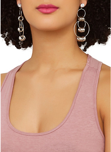 Assorted Glitter and Metallic Earring Trio,SILVER,large