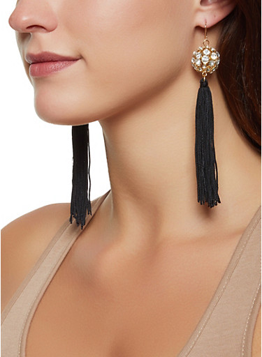 Rhinestone Ball Tassel Drop Earrings,BLACK,large