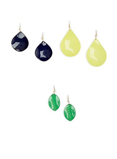Plastic Teardrop Earrings,GREEN,large