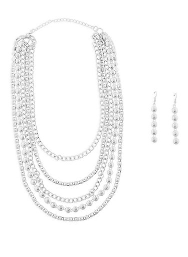 Layered Necklace with Drop Earrings Set,SILVER,large