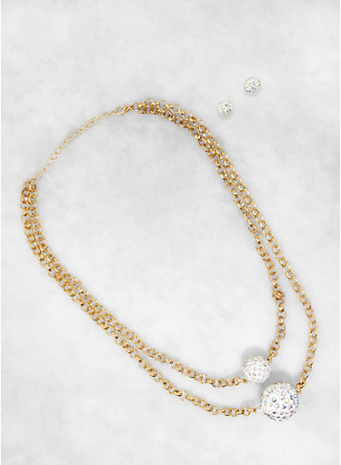 Rhinestone Ball Necklace and Stud Earring Set,GOLD,large