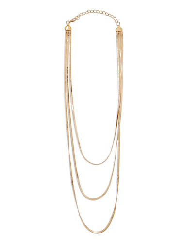 Layered Flat Metallic Necklace,GOLD,large