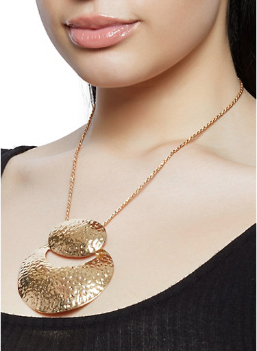 Hammered Metallic Statement Necklace,GOLD,large