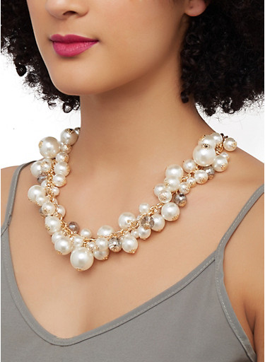 Faux Pearl Beaded Collar Necklace,GOLD,large