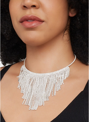 Rhinestone Fringe Collar Necklace and Stud Earrings Set,SILVER,large