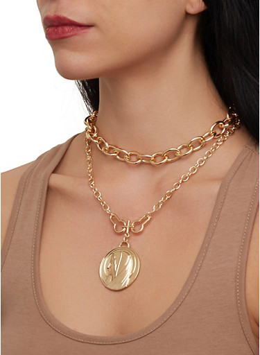 Religious Coin Tiered Chain Necklace with Stud Earrings,GOLD,large