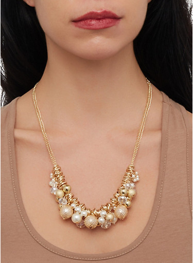 Faux Pearl Cluster Necklace,GOLD,large
