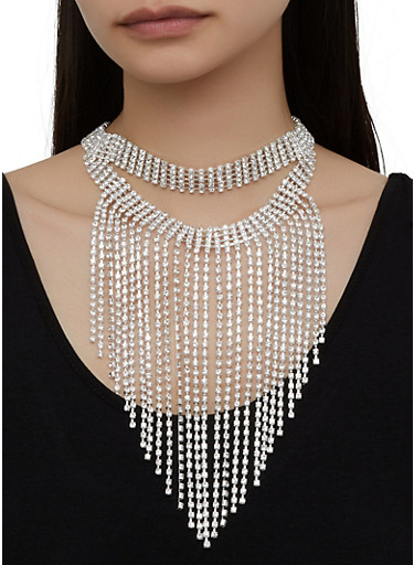 Rhinestone Fringe Layered Necklace with Stud Earrings,SILVER,large