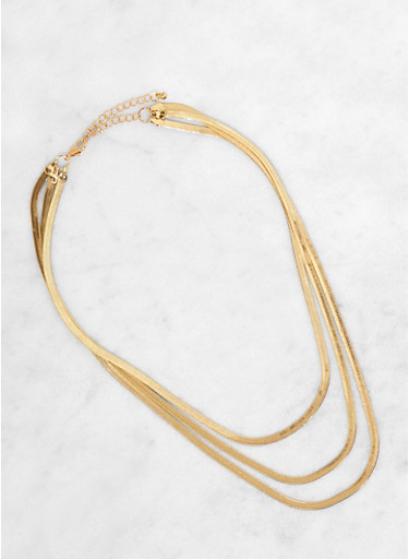 Triple Layer Flat Chain Necklace,GOLD,large