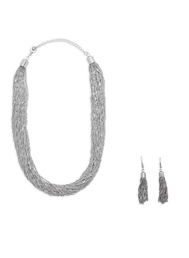 Twisted Chain Necklace with Drop Earrings,SILVER,large