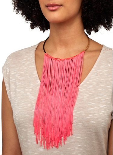 Fringe Collar Necklace and Earrings,PINK,large
