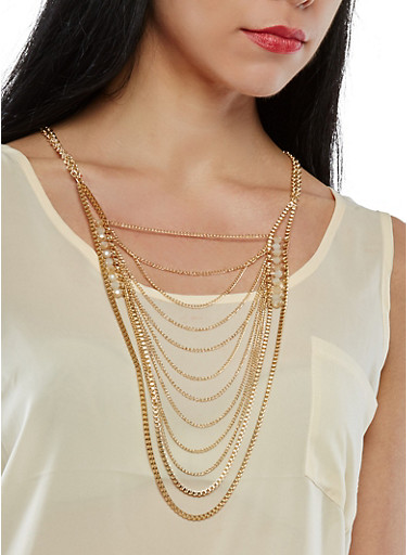 Layered Beaded Metallic Necklace,GOLD,large