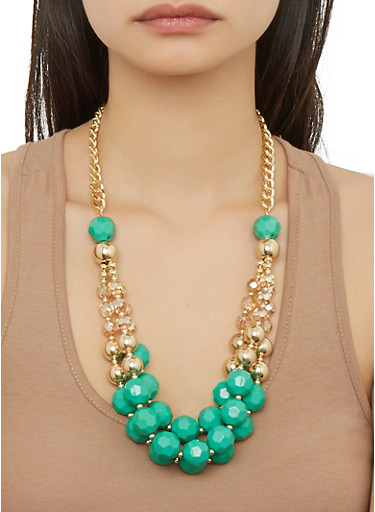Beaded Layered Necklace with Earrings,GREEN,large