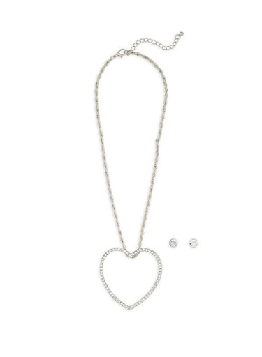 Large Open Rhinestone Heart Necklace with Stud Earrings,SILVER,large