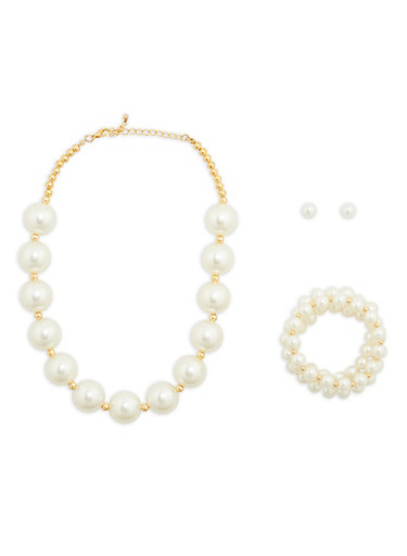 Faux Pearl Necklace with Bracelets and Earrings,IVORY,large