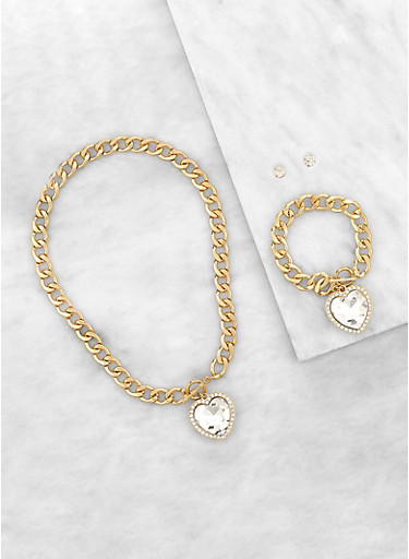 Heart Curb Chain Necklace with Bracelet and Earrings,GOLD,large