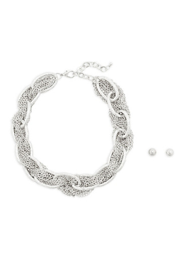 Braided Chain Necklace with Earrings,SILVER,large