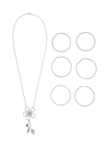 Flower Charm Necklace with Hoop Earring Trio,SILVER,large