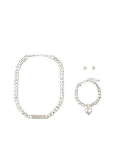 Metallic Curb Chain Necklace with Bracelet and Stud Earrings,SILVER,large