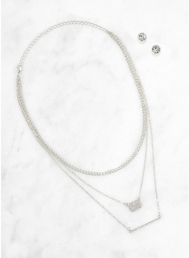 Triple Layer Rhinestone Charm Necklace and Stud Earrings,SILVER,large