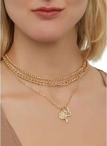 Layered Charm Necklace and Hoop Earrings   1138035155047,GOLD,large