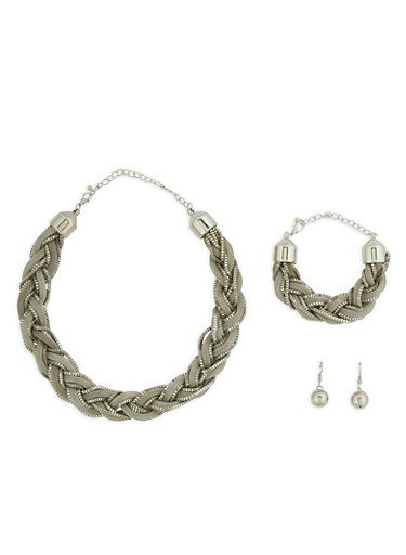Metallic Braided Necklace with Bracelet and Earrings,SILVER,large