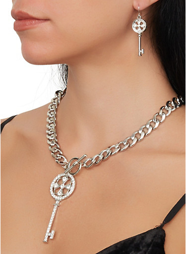 Key Charm Necklace with Bracelet and Drop Earrings,SILVER,large
