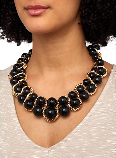 Chain Woven Beaded Necklace and Earrings Set,BLACK,large