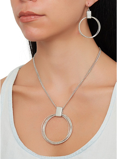Metallic Ring Necklace and Earrings Set,SILVER,large