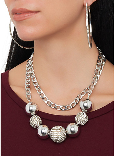 Layered Rhinestone Bead Necklace with Hoop Earrings,SILVER,large