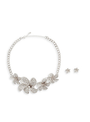 Rhinestone Flower Necklace with Stud Earrings,SILVER,large