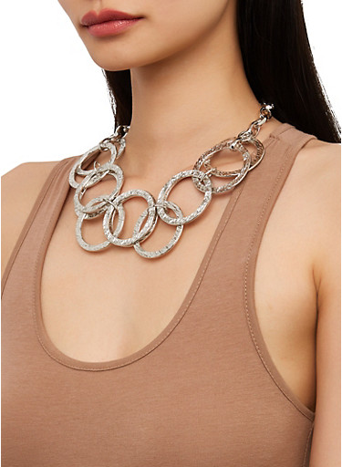 Metallic Ring Collar Necklace and Earrings Set,SILVER,large