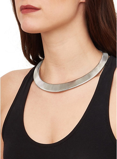 Metallic Collar Necklace with Cuff Bracelet and Earrings,SILVER,large